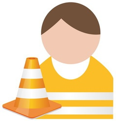 Buddy in orange safety vest with traffic cone vector image
