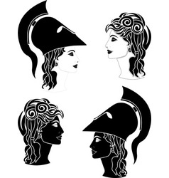 greek woman profiles vector image vector image