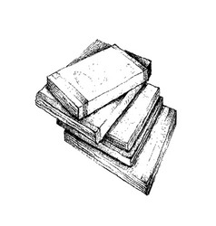 Hand drawn stack of books on white background vector