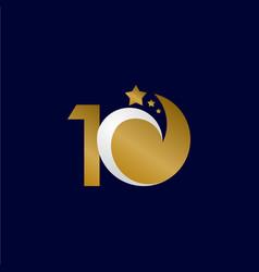 10 years anniversary star dash gold celebration vector