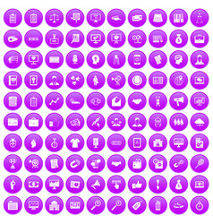 100 partnership icons set purple vector