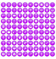 100 partnership icons set purple vector