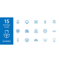15 summer icons vector