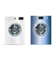 3d realistic washers realistic white and blue vector