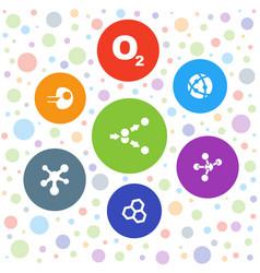 7 molecular icons vector