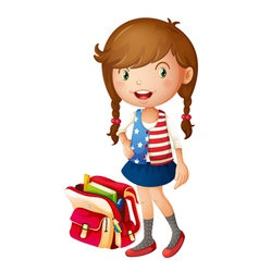 A girl with school bag vector
