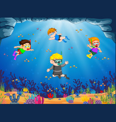 a group of children are diving under the blue sea vector image