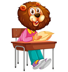 a lion student character vector image