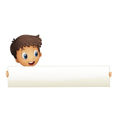 A small boy holding an empty banner vector