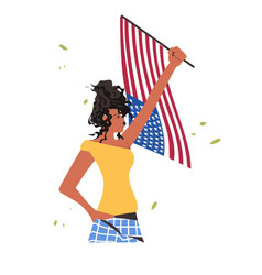 African american woman holding usa flag black vector