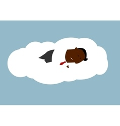 African businessman asleep on a cloud vector image