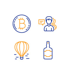 air balloon bitcoin and people icons set whiskey vector image