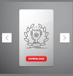 award cup prize reward victory line icon in vector image