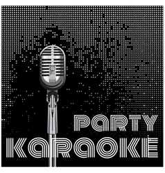 background with microphone for karaoke party vector image