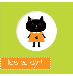 bashower card with cat its a girl vector image
