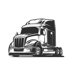 Big rig truck black and white vector