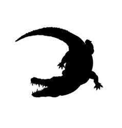black silhouette of mississippi alligator vector image