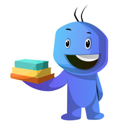 blue cartoon caracter holding books on white vector image