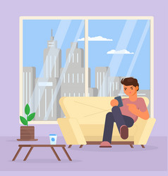 boy with smartphone on sofa vector image