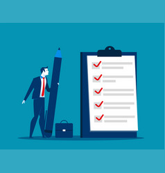 businessman checklist on the clipboard vector image