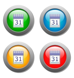 Calendar organaizer icon on buttons set vector image vector image