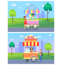 candy cotton and popcorn vector image