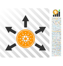 Cardano coin distribution arrows flat icon with vector