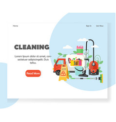 Cleaning website landing page design vector