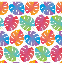 Colorful abstract tropical monstera pattern vector