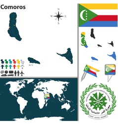 Comoros map world vector image
