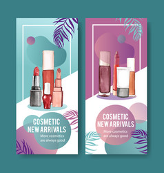 Cosmetic flyer design with various lipsticks vector