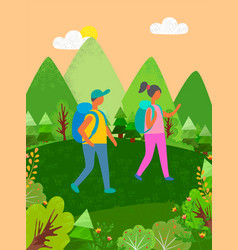 couple traveling man and woman hiking at mountains vector image