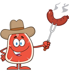 Cowboy Steak Cartoon vector image
