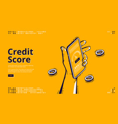 credit score isometric landing page bank rating vector image