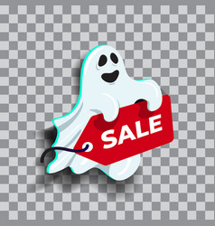 cute ghost cartoon character holding sale sign vector image