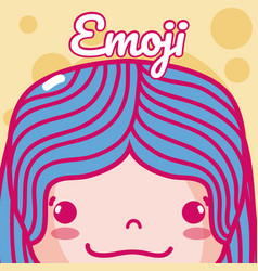 cute girl emoji vector image