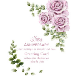 delicate pink roses anniversary card vector image