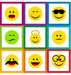 Flat icon expression set of cheerful pleasant vector