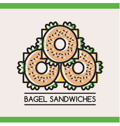 food logotype with three bagel sandwiches vector image