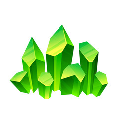 Green crystals on a white vector
