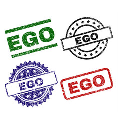 Grunge textured ego stamp seals vector