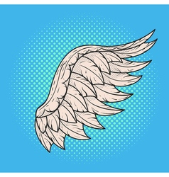 hand drawn pop art of angel wing Retro style Hand vector image