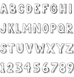 hand drawn trendy letters alphabet typography on vector image