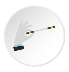 Hand with magic wand icon circle vector
