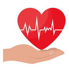 Hands with heart cardio icon vector