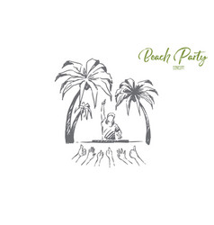 having beach party dj making live music people vector image