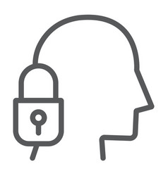 head lock line icon protection and person vector image