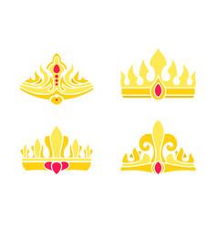 Heraldic royal symbols of power gorgeous crowns vector