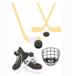 Hockey objects vector image