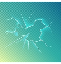 Hole with cracks on screen or glass window vector image